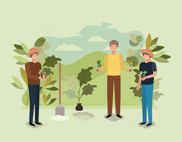 Grupo de homens plantando árvore no parque