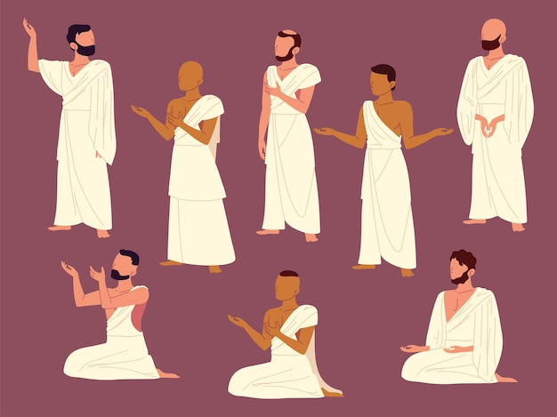 Grupo de homens rezando muçulmanos