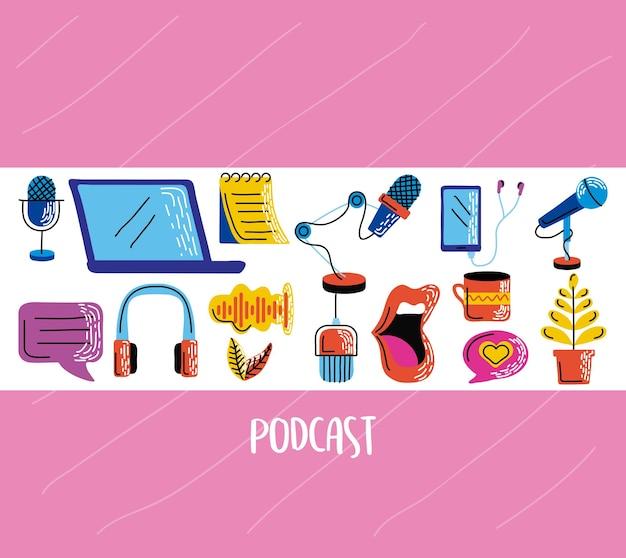 Grupo de ícone de podcast