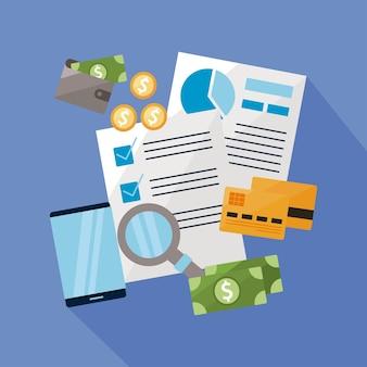 Grupo de ícone financeiro e de negócios de dinheiro