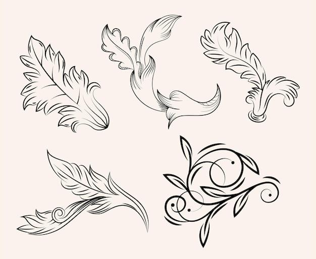 Grupo de ícone floral vintage barroco