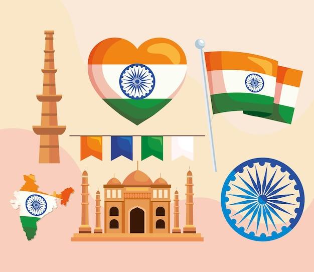 Grupo de ícone indiano