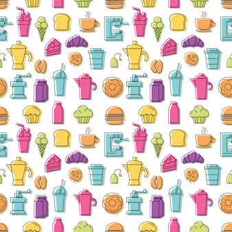 Grupo de ícones coloridos lineares para o teste padrão da cafetaria sem emenda com fundo branco.