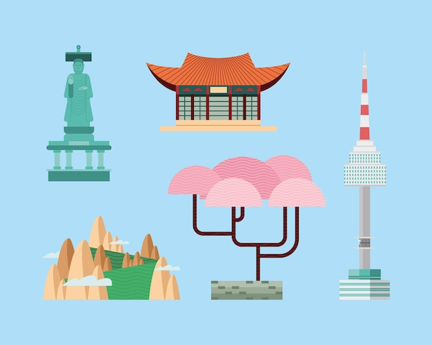 Grupo de ícones da coreia do sul em fundo azul