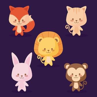 Grupo de ícones de animais fofos