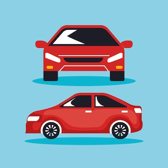 Grupo de ícones de carros sedan