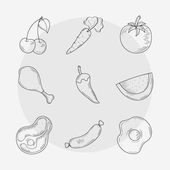 Grupo de ícones de comer e comer