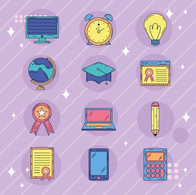 Grupo de ícones de educação