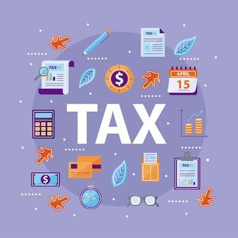 Grupo de ícones de impostos