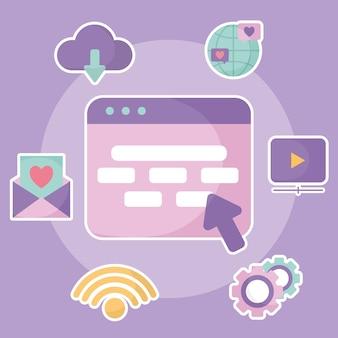 Grupo de ícones de mídia social em uma ilustração roxa
