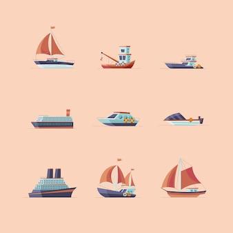 Grupo de ícones de navios e barcos