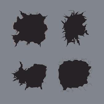 Grupo de ícones de parede rachada em fundo cinza