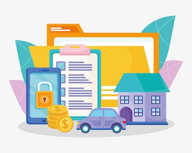 Grupo de ícones de seguro de trabalho digital