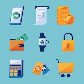 Grupo de ícones de soluções de pagamento