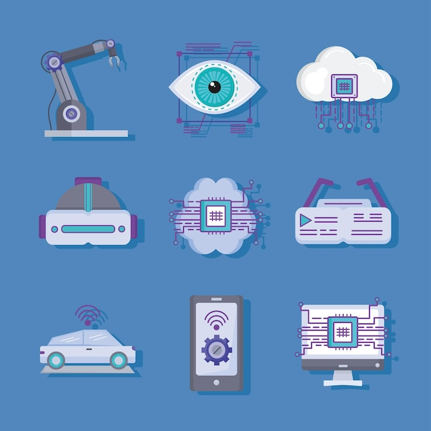 Grupo de ícones de tecnologia do futuro