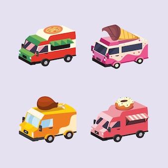 Grupo de ícones de veículos food trucks