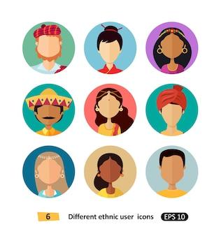 Grupo de ícones plana de pessoas étnicas nacionais avatares multiculturais