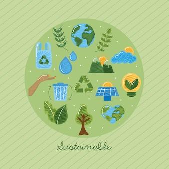Grupo de ícones sustentáveis