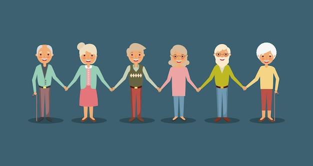 Grupo de idosos de mãos dadas, sorrindo, pessoas, desenho animado