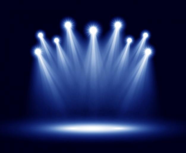 Grupo de iluminação realistas vector holofotes