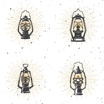 Grupo de ilustração da lâmpada de querosene do vintage no fundo branco. elemento para o logotipo, etiqueta, emblema, sinal. ilustração