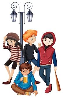 Grupo de ilustração de adolescente de rua de problema