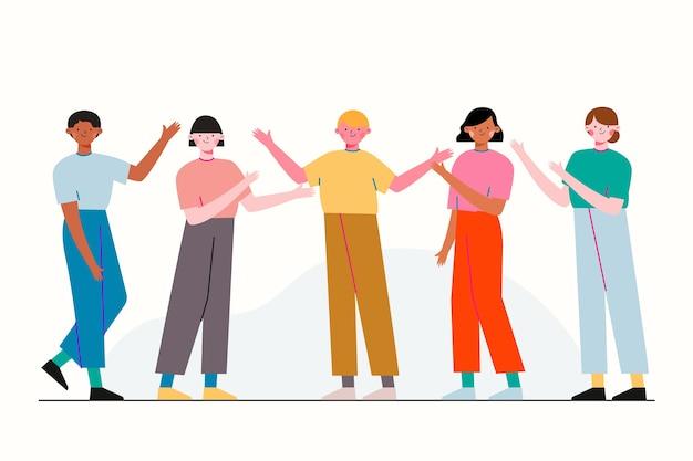 Grupo de ilustração de amigos