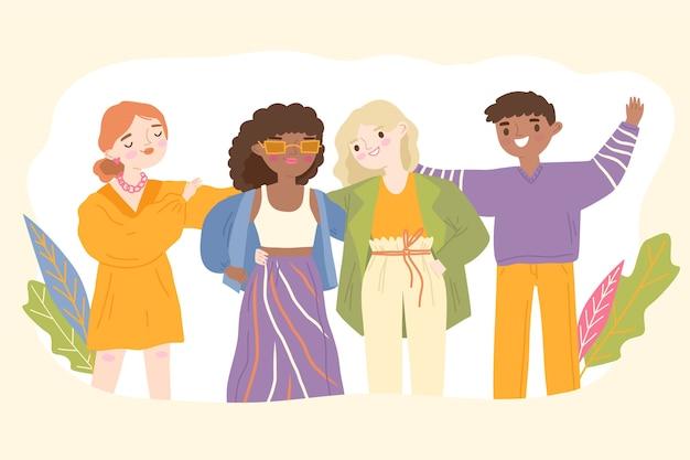 Grupo de ilustração de jovens