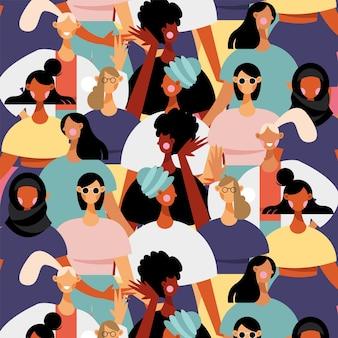 Grupo de ilustração de padrões de personagens femininos de diversidade