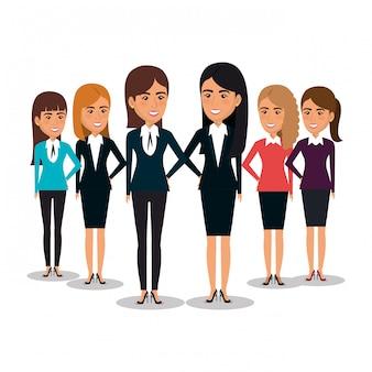 Grupo de ilustração de trabalho em equipe de mulheres de negócios