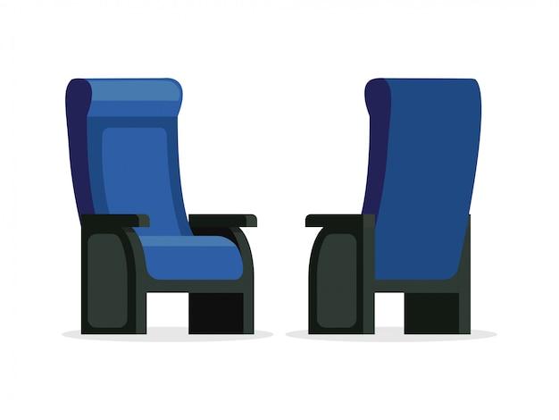 Grupo de ilustração dianteira e traseira da opinião da cadeira confortável azul do vetor. assentos vazios isolados no fundo branco