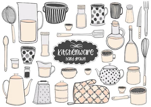 Grupo de ilustrações tiradas mão do vetor do kitchenware que tiram.