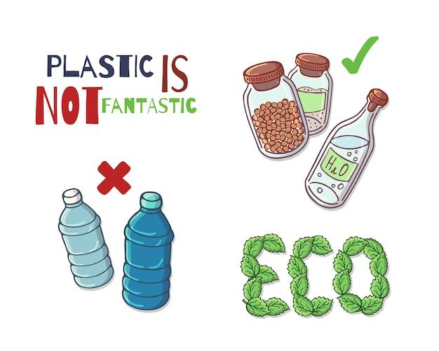Grupo de ilustrações vetoriais sobre o tema de proteção ambiental