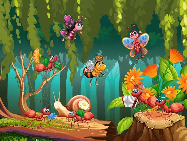 Grupo de insetos na natureza de fadas