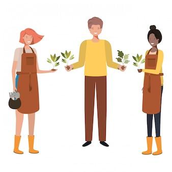 Grupo de jardineiros masculinos sorrindo personagem avatar