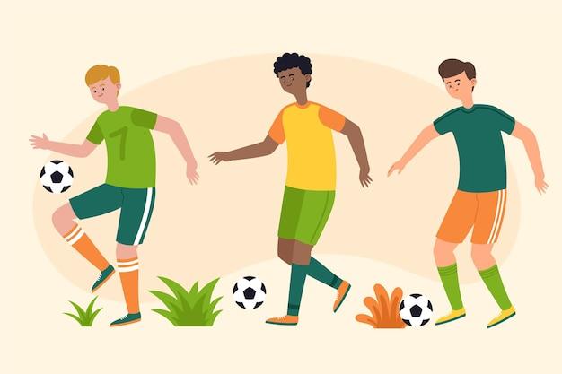Grupo de jogadores de futebol de design plano