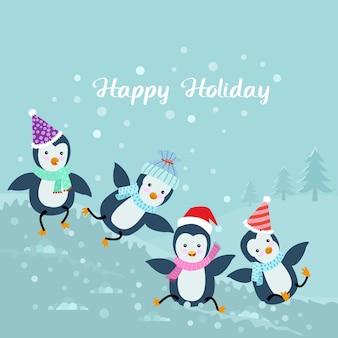 Grupo de jogo do pinguim na neve.