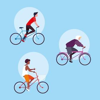 Grupo de jovem andando de personagem de avatar de bicicleta
