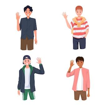 Grupo de jovem diz oi ou olá com ilustração de gesto com a mão