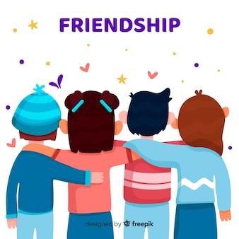 Grupo de jovens abraçando juntos
