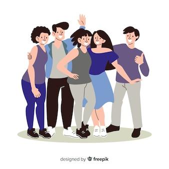 Grupo de jovens adultos posando para foto