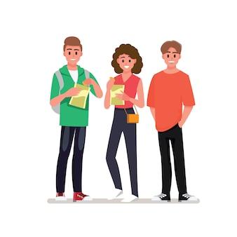 Grupo de jovens alegres, aproveitando a festa em casa com lanches. personagem de desenho animado.