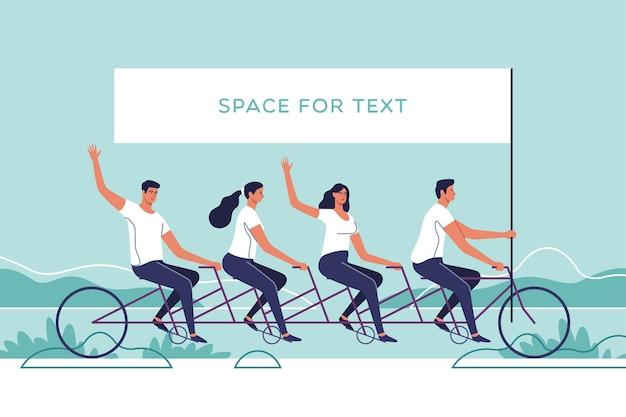 Grupo de jovens andando de bicicleta tandem o conceito de trabalho em equipe.