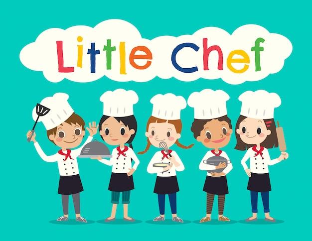 Grupo de jovens chef crianças crianças cartoon ilustração