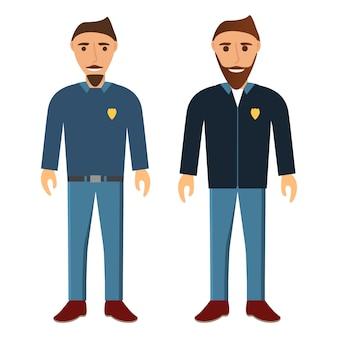 Grupo de jovens com barba e bigodes. os homens que trabalham na polícia.