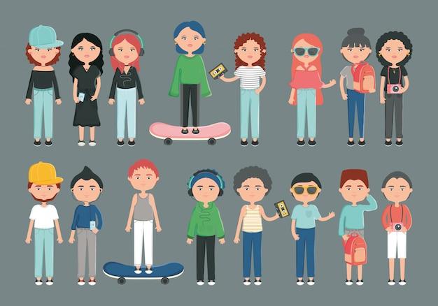 Grupo de jovens com estilo urbano de acessórios