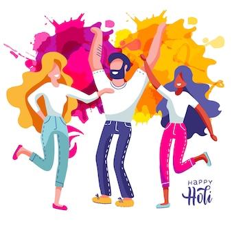 Grupo de jovens comemora holi. conjunto de homem e mulheres jogar salpicos de tinta colorida. ilustração em estilo cartoon plana