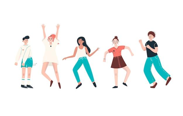 Grupo de jovens dançarinos felizes ou dançarinos masculinos e femininos isolados no fundo branco.