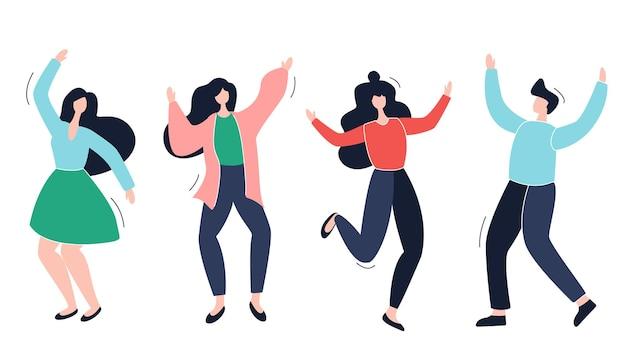 Grupo de jovens dançarinos felizes ou homens e mulheres isolados em um fundo branco dançando pessoas