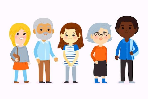 Grupo de jovens e idosos